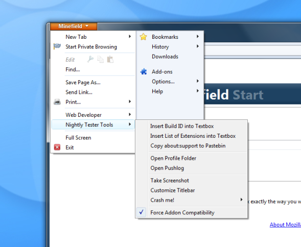 Screenshot of Nightly Tester Tools Firefox menu